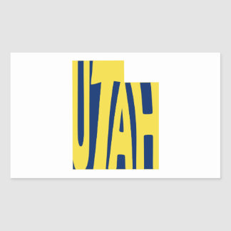 Utah State Name Word Art Yellow Rectangular Sticker