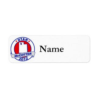 Utah Thad McCotter Custom Return Address Label