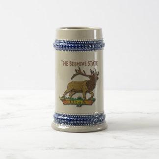 Utah The Beehive State Elk Brown Beer Stein