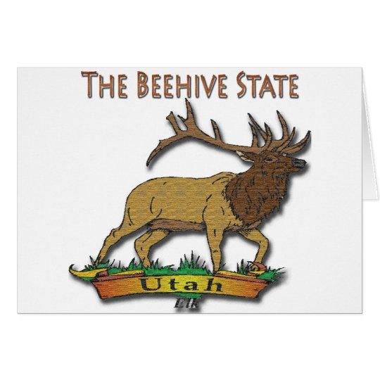 Utah The Beehive State Elk Brown Card