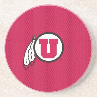 Utah U Circle and Feathers Coaster