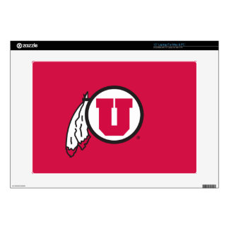 """Utah U Circle and Feathers Decal For 15"""" Laptop"""