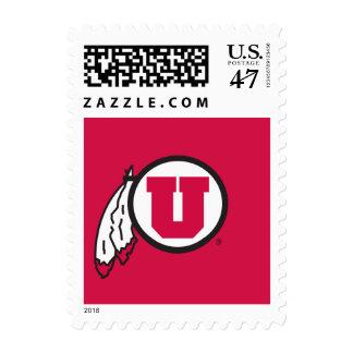 Utah U Circle and Feathers Postage