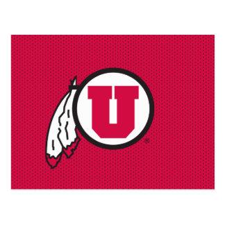 Utah U Circle and Feathers Postcard