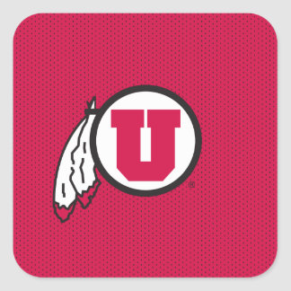 Utah U Circle and Feathers Square Sticker