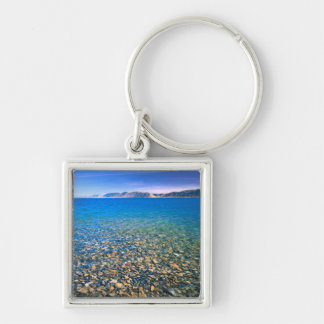 UTAH. USA. Clear water of Bear Lake reveals Silver-Colored Square Keychain