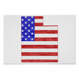 Utah USA flag silhouette state map Poster