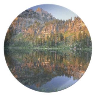 UTAH. USA. Mt. Magog reflected in White Pine Dinner Plate