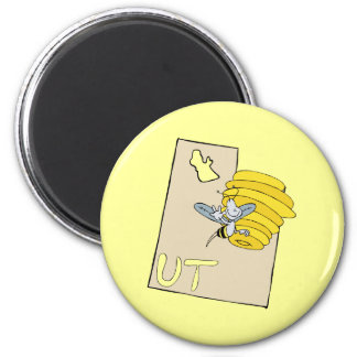 Utah UT Cartoon Map with Bee Hive Cartoon Art Magnet