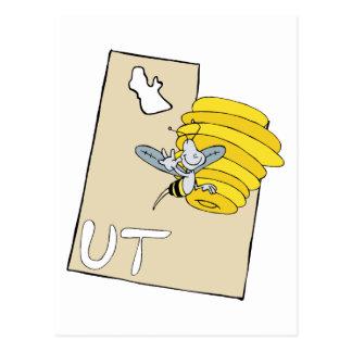 Utah UT Cartoon Map with Bee Hive Cartoon Art Postcard