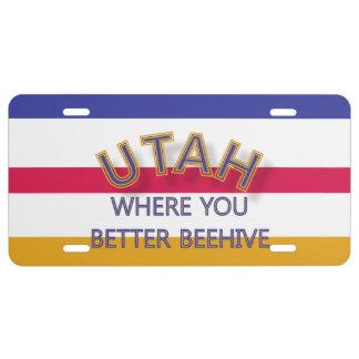 Utah Where You Better Beehive License Plate