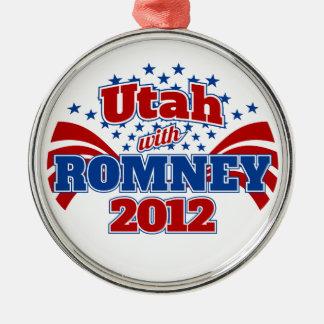Utah with Romney 2012 Metal Ornament