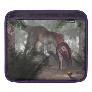 Utahraptor dinosaur hunting a gecko sleeve for iPads