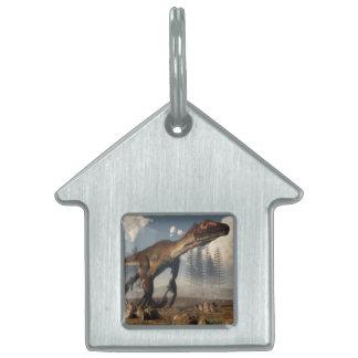 Utahraptor dinosaur in the desert pet ID tag