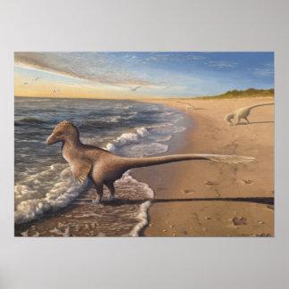 Utahraptor en la impresión del amanecer póster