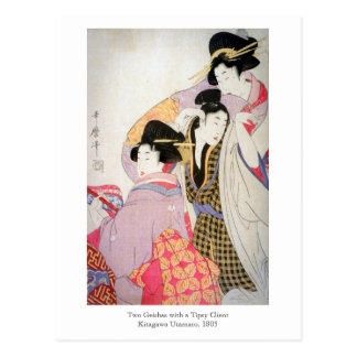 Utamaro Geishas with Tipsy Client Postcard