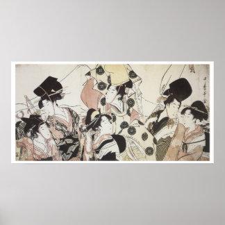 Utamaro Going Down To the East 1795 Art Prints