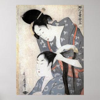Utamaro Hairdresser Poster