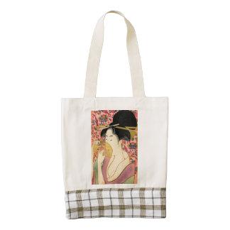 Utamaro: Kushi (Comb). Zazzle HEART Tote Bag