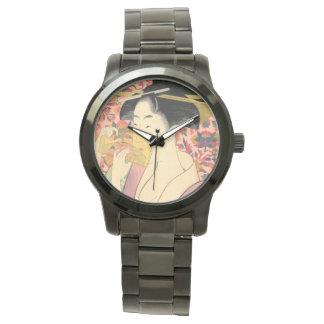 Utamaro: Kushi (peine). Reloj