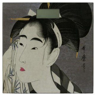 Utamaro's Ase O Fuku Onna art bathroom scale