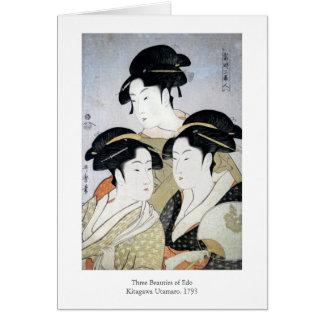 Utamaro Three Beauties of Edo Card