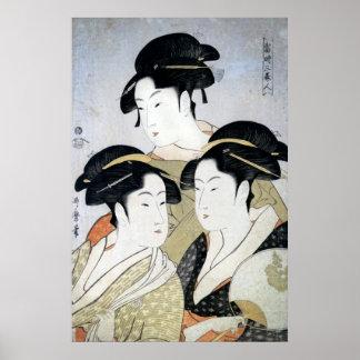 Utamaro Three Beauties of Edo Poster