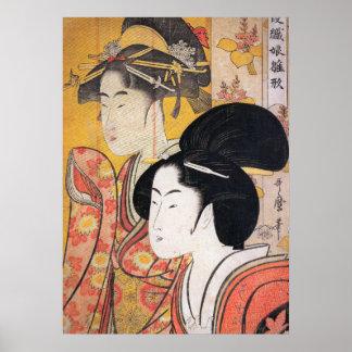 Utamaro Two Beauties with Bamboo Poster