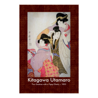 Utamaro Two Geishas with Tipsy Client Art Poster