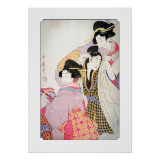 Utamaro Two Geishas with Tipsy Client Poster