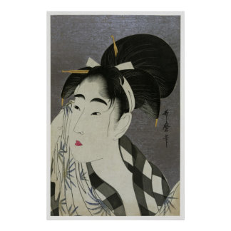 Utamaro Wiping Poster CC0054