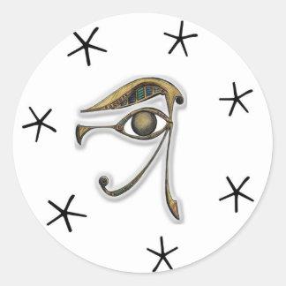 Utchat - amuleto de la protección pegatina redonda