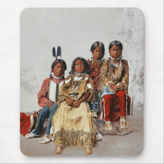 Ute Children 1899 - Vintage hand colored Mouse Pad