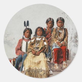 Ute Children 1899 - Vintage hand colored Stickers