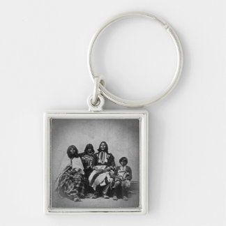 Ute Family Vintage Stereoview Silver-Colored Square Keychain