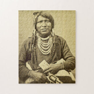 Ute Indian Stereoview Vintage Portrait Puzzle