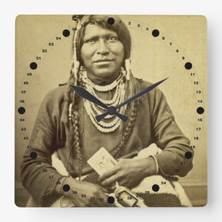 Ute Indian Vintage Stereoview Portrait Square Wall Clock