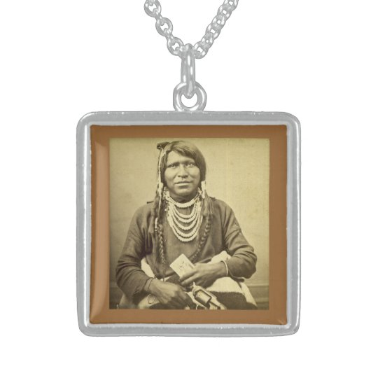 Ute Indian with Pistol and Card Sterling Silver Necklace