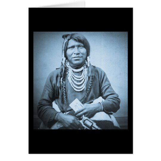 Ute Indian with Pistol Vintage Stereoview Cyan Card