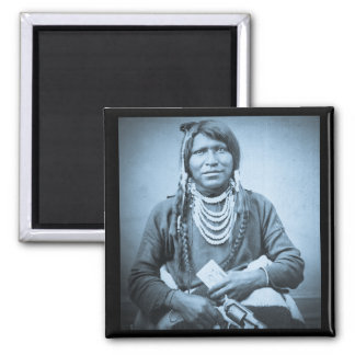 Ute Indian with Pistol Vintage Stereoview Cyan Refrigerator Magnets