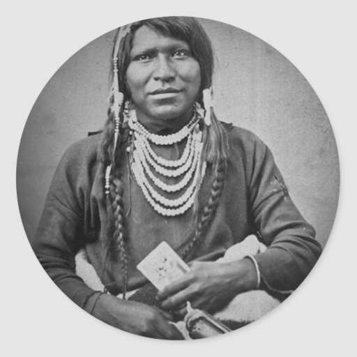Ute Indian with Pistol Vintage Stereoview Round Stickers