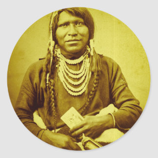 Ute Indian with Pistol Vintage Stereoview Round Sticker