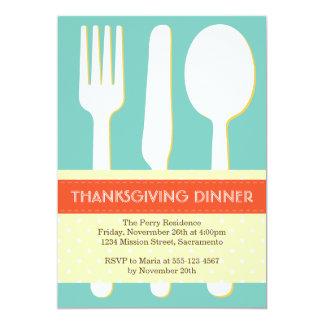 Utensil place setting orange blue thanksgiving personalized invite