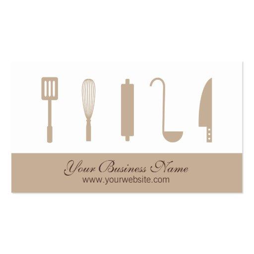 Utensilios de cocinar del cocinero, tarjetas de vi tarjetas de visita