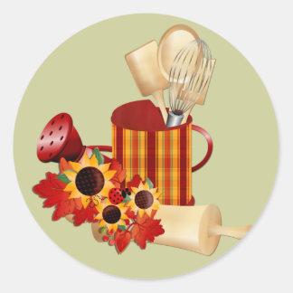Utensilios de cocinar del otoño pegatina redonda