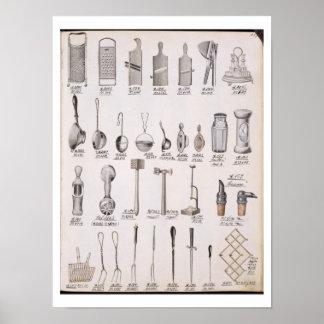 Utensilios de la cocina, de un catálogo comercial  póster