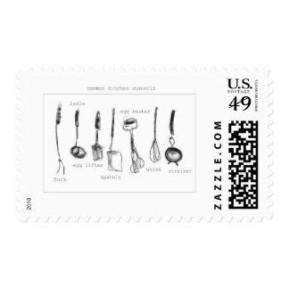 Utensilios de la cocina sello postal