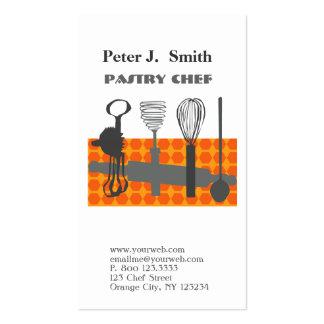 Utensilios retros de la cocina de la hornada para tarjetas de visita
