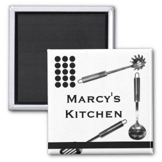 Utensils and Dots Kitchen Magnet