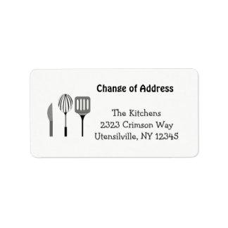 Utensils for the Kitchen New Address Label